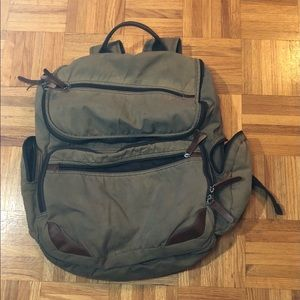 Dopp canvas backpack tan with leather trim